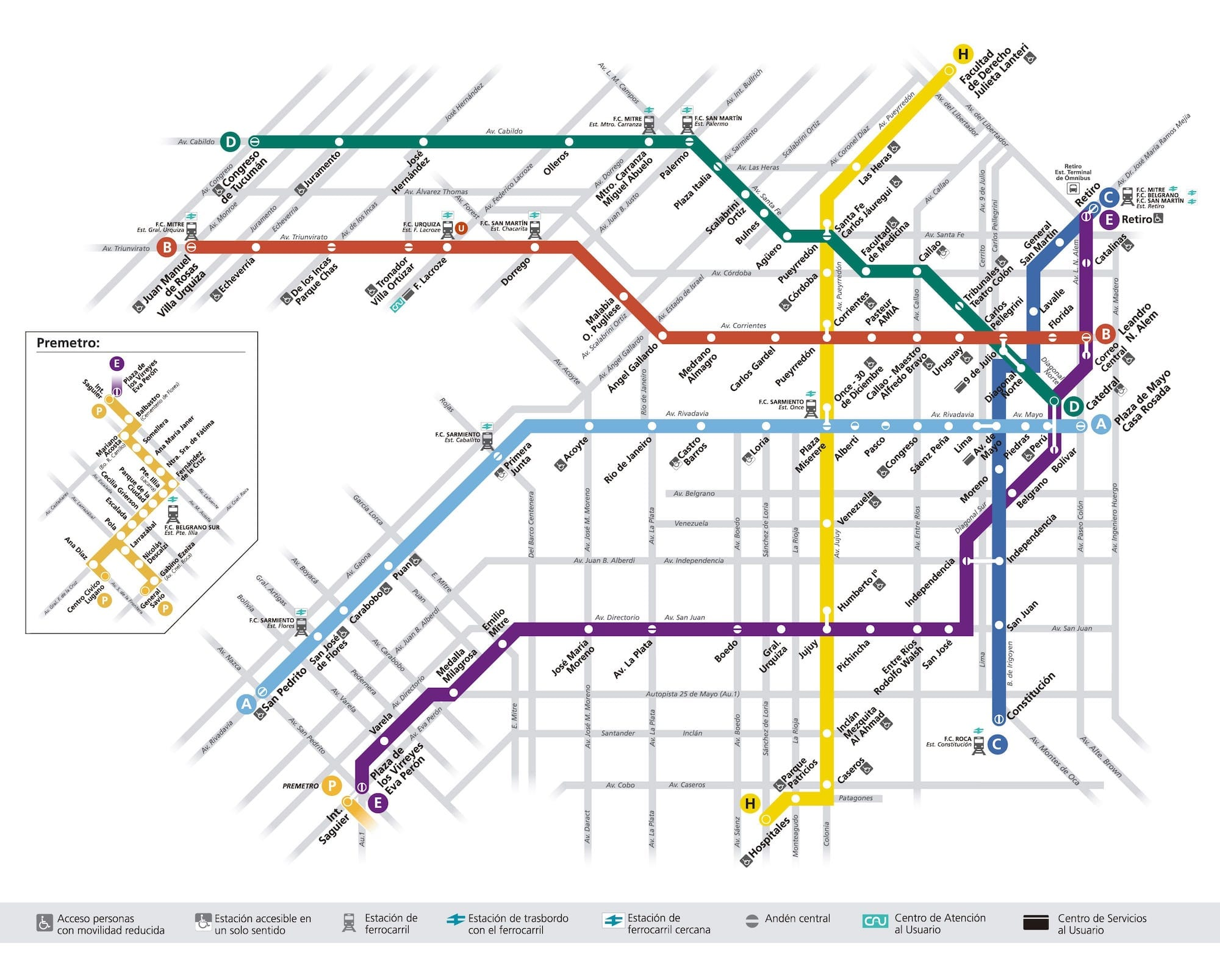 Subway map of Buenos Aires Public Transport